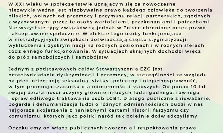 Stanowisko ws. publicznych ataków na osoby LGBT+
