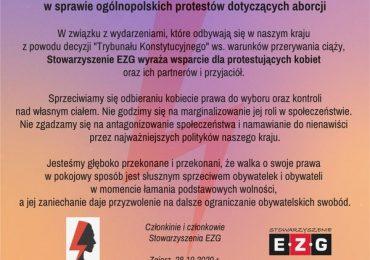Stanowisko ws. protestów dotyczących aborcji